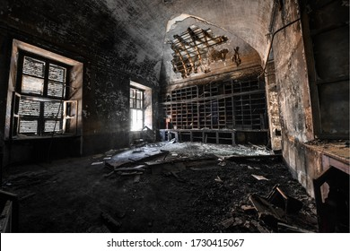 Turin / Italy - 05/20/2019 - Medical records room covered in ashes after a fire in italian Abandoned Psychiatric Hospital Manicomio Racconigi