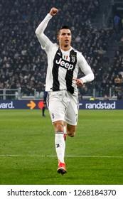 Turin, Italy, 07 December 2018. Campionato Italiano Serie A, Juventus-Inter 1-0. Cristiano Ronaldo, Juventus, celebrating.