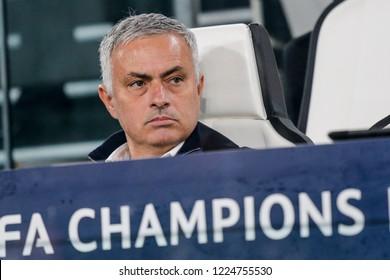 Turin, Italy. 07 November 2018. UEFA Champions League. Juventus vs Manchester United 1-2. Jose Mourinho, coach Manchester United.