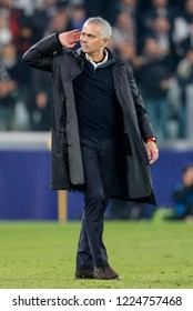 Turin, Italy. 07 November 2018. UEFA Champions League. Juventus vs Manchester United 1-2. Jose Mourinho, manager Manchester United, provocative towards the Juventus fans, at the end of the match.