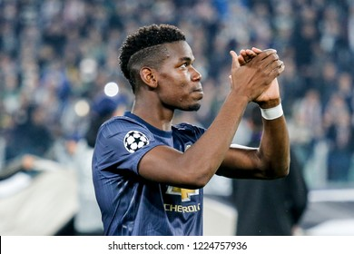 Turin, Italy. 07 November 2018. UEFA Champions League. Juventus vs Manchester United 1-2. Paul Pogba, Manchester United, at the begin of the match.