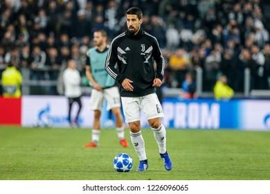 Turin, Italy. 07 November 2018. UEFA Champions League, Juventus vs Manchester United 1-2. Sami Khedira, Juventus, during warm up.