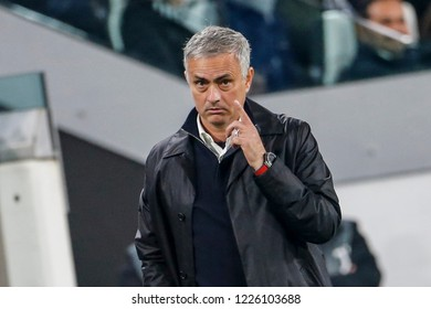 Turin, Italy. 07 November 2018. UEFA Champions League, Juventus vs Manchester United 1-2. Jose Mourinho, coach Manchester United.
