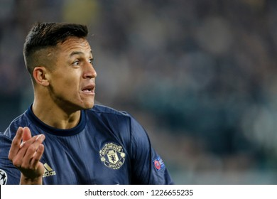 Turin, Italy. 07 November 2018. UEFA Champions League, Juventus vs Manchester United 1-2. Alexis Sanchez, Manchester United.