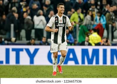 Turin, Italy. 07 November 2018. UEFA Champions League, Juventus vs Manchester United 1-2. Cristiano Ronaldo, Juventus, celebrating goal.