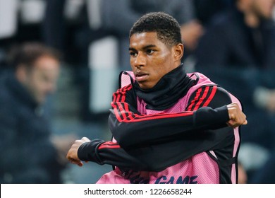 Turin, Italy. 07 November 2018. UEFA Champions League, Juventus vs Manchester United 1-2. Marcus Rashford, Manchester United, during warm up.