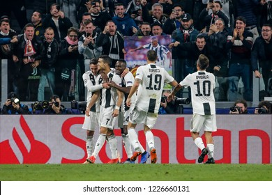 Turin, Italy. 07 November 2018. UEFA Champions League, Juventus vs Manchester United 1-2. Cristiano Ronaldo and team mates of Juventus, celebrating the goal.