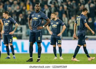 Turin, Italy. 07 November 2018. UEFA Champions League, Juventus vs Manchester United 1-2. Paul Pogba, Manchester United.