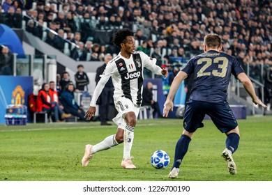 Turin, Italy. 07 November 2018. UEFA Champions League, Juventus vs Manchester United 1-2. Juan Cuadrado, Juventus.