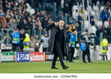 Turin, Italy. 07 November 2018. UEFA Champions League, Juventus vs Manchester United 1-2. Jose Mourinho, coach Manchester United, provocative at the end of the match.