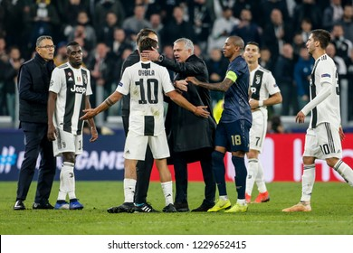 Turin, Italy. 07 November 2018. UEFA Champions League, Juventus vs Manchester United 1-2. Discussion between Paulo Dybala, Juventus, and Jose Mourinho, coach Manchester United.