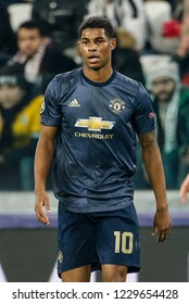 Turin, Italy. 07 November 2018. UEFA Champions League, Juventus vs Manchester United 1-2. Marcus Rashford, Manchester United.