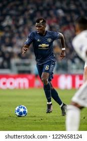 Turin, Italy. 07 November 2018. UEFA Champions League, Juventus vs Manchester United 1-2. Paul Pogba, Manchester United.