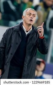 Turin, Italy. 07 November 2018. UEFA Champions League, Juventus vs Manchester United 1-2. Jose Mourinho, coach Manchester United.