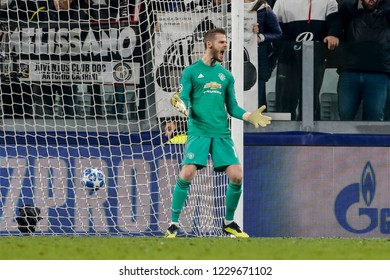 Turin, Italy. 07 November 2018. UEFA Champions League, Juventus vs Manchester United 1-2. David de Gea, goalkeeper Manchester United.