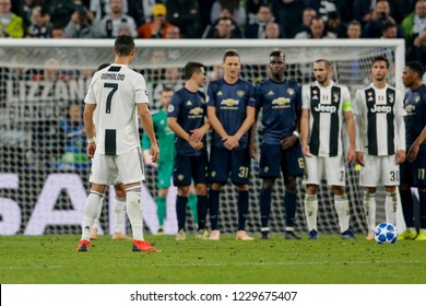 Turin, Italy. 07 November 2018. UEFA Champions League, Juventus vs Manchester United 1-2. Cristiano Ronaldo, Juventus, ready to shot.