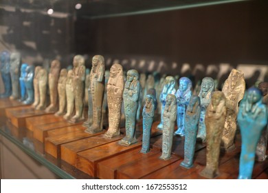 Turin, Italy - 07/04/2018: Exhibition of mummies, artifacts and Egyptian finds at the Egyptian Museum of Turin