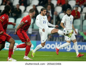 Turin, Italy - 07.10.2021:  in action during the semifinals Uefa Nations League football match Belgium vs France at Allianz Arena Stadium in Turin on october 07th 2021.