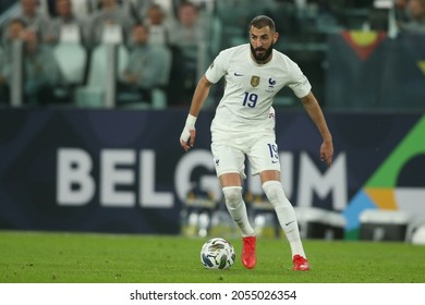 Turin, Italy - 07.10.2021: BENZEMA (FRA) in action during the semifinals Uefa Nations League football match Belgium vs France at Allianz Arena Stadium in Turin on october 07th 2021.