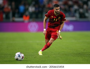 Turin, Italy - 07.10.2021: CARRASCO (BEL) in action during the semifinals Uefa Nations League football match Belgium vs France at Allianz Arena Stadium in Turin on october 07th 2021.