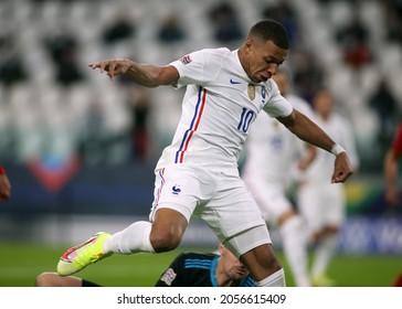 Turin, Italy - 07.10.2021: MBAPPE (FRA) in action during the semifinals Uefa Nations League football match Belgium vs France at Allianz Arena Stadium in Turin on october 07th 2021.