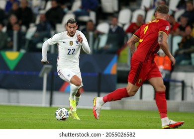 Turin, Italy - 07.10.2021: THEO HERNANDEZ (FRA) in action during the semifinals Uefa Nations League football match Belgium vs France at Allianz Arena Stadium in Turin on october 07th 2021.