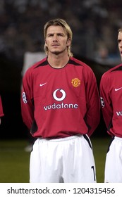 "Turin Italy ,12 March  2003, ""Delle Alpi"" Stadium, UEFA Champions League 2002/2003, FC Juventus- FC Manchester United: David Beckham  before the match"