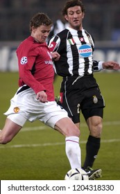 """Turin Italy ,12 March  2003, """"Delle Alpi"""" Stadium, UEFA Champions League 2002/2003, FC Juventus- FC Manchester United: Ole Gunnar Solskjaer in action during the match"""