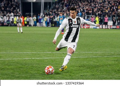 Turin, Italy. 12 March 2019. Uefa Champions League, Juventus vs Atletico Madrid 3-0. Cristiano Ronaldo, Juventus, score the penalty for 3-0.