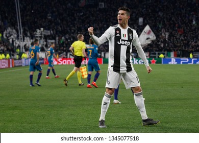 Turin, Italy. 12 March 2019. Uefa Champions League, Juventus vs Atletico Madrid 3-0. Cristiano Ronaldo, Juventus, celebrating the victory.