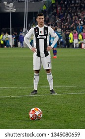 Turin, Italy. 12 March 2019. Uefa Champions League, Juventus vs Atletico Madrid 3-0. Cristiano Ronaldo, Juventus, score the penalty.