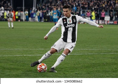 Turin, Italy. 12 March 2019. Uefa Champions League, Juventus vs Atletico Madrid 3-0. Cristiano Ronaldo, Juventus, score the penalty.