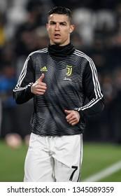 Turin, Italy. 12 March 2019. Uefa Champions League, Juventus vs Atletico Madrid 3-0. Cristiano Ronaldo, Juventus, during warm up.