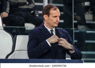 Turin, Italy. 12 March 2019. Uefa Champions League, Juventus vs Atletico Madrid 3-0. Massimiliano Allegri, coach Juventus.