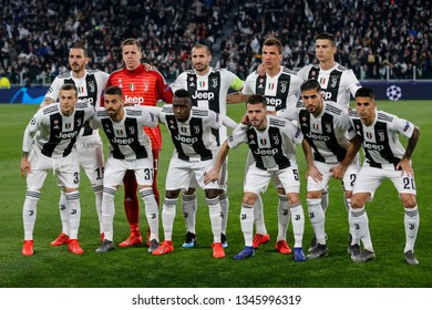Turin, Italy. 12 March 2019. Uefa Champions League, Juventus vs Atletico Madrid 3-0. Team picture Juventus Football Club.