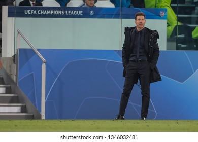 Turin, Italy. 12 March 2019. Uefa Champions League, Juventus vs Atletico Madrid 3-0. Diego Simeone, coach Atletico Madrid.