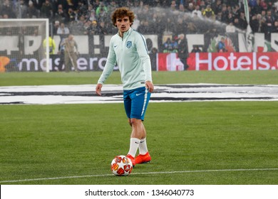 Turin, Italy. 12 March 2019. Uefa Champions League, Juventus vs Atletico Madrid 3-0. Antoine Griezmann, Atletico Madrid, during warm up.