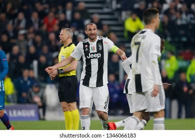 Turin, Italy. 12 March 2019. Uefa Champions League, Juventus vs Atletico Madrid 3-0. Giorgio Chiellini, Juventus, bleeding.