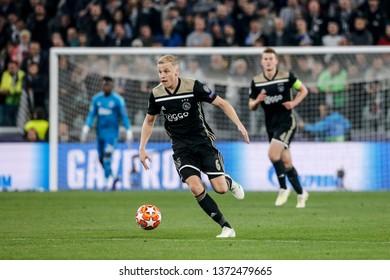 Turin, Italy. 16 April 2019. UEFA Champions League, Juventus vs Ajax 1-2. Donny van de Beek, Ajax.