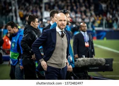 Turin, Italy. 16 April 2019. UEFA Champions League, Juventus vs Ajax 1-2. Erik Ten Hag, manager Ajax.