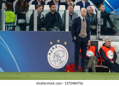 Turin, Italy. 16 April 2019. UEFA Champions League, Juventus vs Ajax 1-2. Erik Ten Hag, coach Ajax.