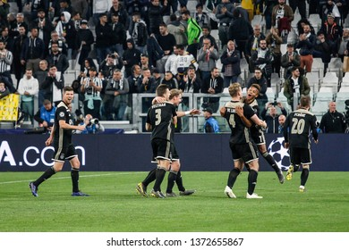 Turin, Italy. 16 April 2019. UEFA Champions League, Juventus vs Ajax 1-2. Players of Ajax celebrating the victory and passage at semi-finals.