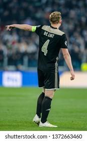 Turin, Italy. 16 April 2019. UEFA Champions League, Juventus vs Ajax 1-2. Matthijs de Ligt, Ajax.