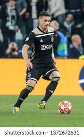 Turin, Italy. 16 April 2019. UEFA Champions League, Juventus vs Ajax 1-2. Dusan Tadic, Ajax.