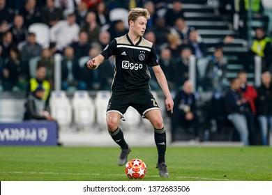 Turin, Italy. 16 April 2019. UEFA Champions League, Juventus vs Ajax 1-2. Frenkie de Jong, Ajax.