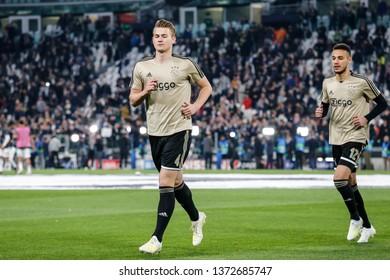 Turin, Italy. 16 April 2019. UEFA Champions League, Juventus vs Ajax 1-2. Matthijs de Ligt, Ajax, during warm up.