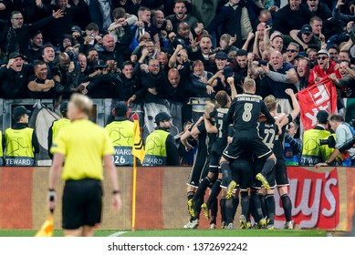 Turin, Italy. 16 April 2019. UEFA Champions League, Juventus vs Ajax 1-2. Players of Ajax celebrating goal with supporters.