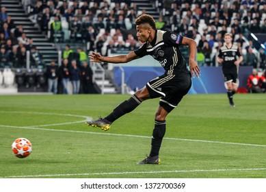 Turin, Italy. 16 April 2019. UEFA Champions League, Juventus vs Ajax 1-2. David Neres, Ajax.