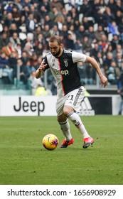 Turin, Italy. 16/02/2020. Italian Serie A Soccer Championship. Juventus vs Brescia 2-0. Gonzalo Higuain, Juventus.