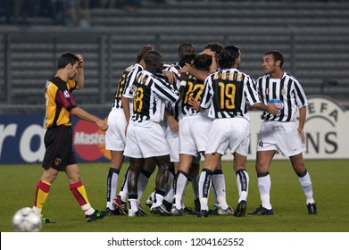 "Turin Italy ,17 September  2003, ""Delle Alpi"" Stadium, UEFA Champions League 2003/2004, FC Juventus- SK Galatasaray: Juventus players  celebrates after the goal"